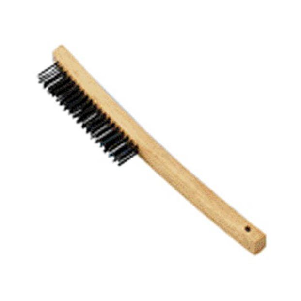 LONG CURVED WOOD HANDLE WIRE BRUSH