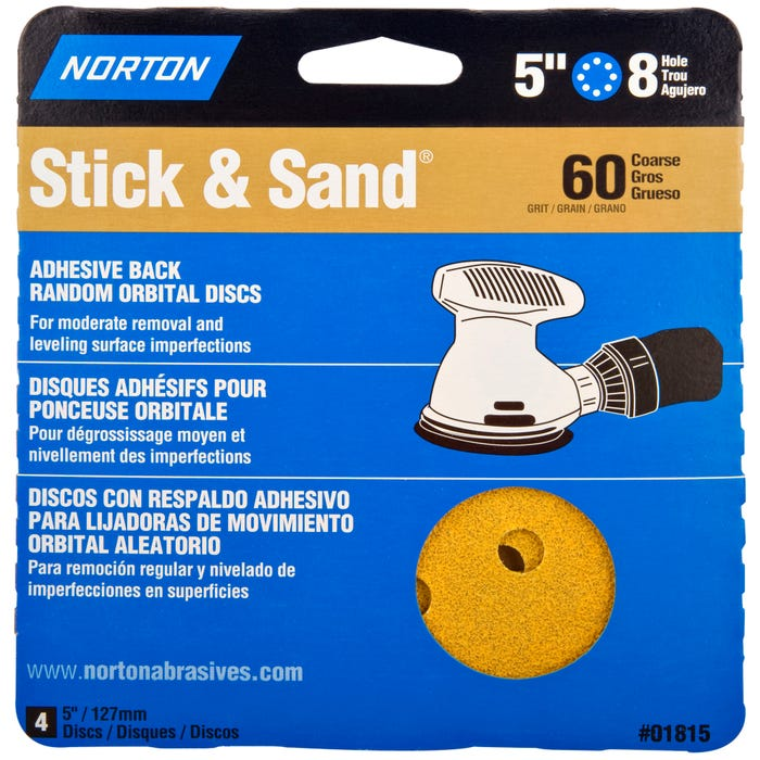Norton Stick & Stand, 4 Pack Sanding Disks, 5