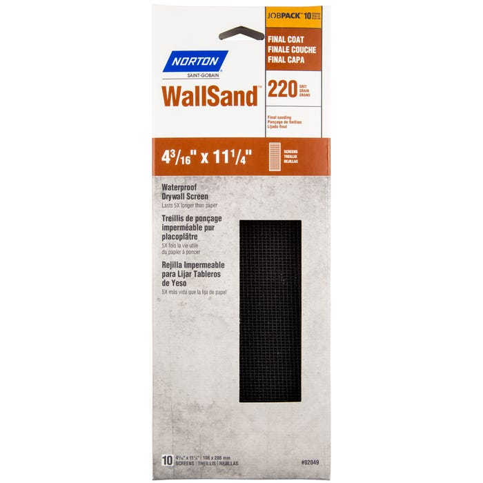 Norton Waterproof Drywall Screen, 10 Pack, 220 Grit, Final Coat