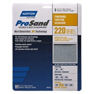 "Norton ProSand, 3 Pack Sanding Sheets, 9"" x 11"", 220 Grit, Very Fine"