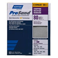 "Norton ProSand, 20 Pack Sanding Sheets, 9"" x 11"", 80 Grit, Coarse"