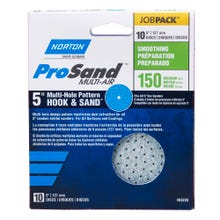 "Norton ProSand, UVH Pattern Hook & Sand 5"" Discs, 10 Pack, 150 Grit, Medium"