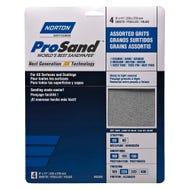 "Norton ProSand, 4 Pack Assorted Sanding Sheets, 9"" x 11"", 60, 100, 150, 220 Grit"