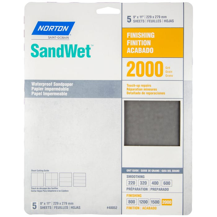 Norton SandWet, 5 Pack Waterproof Sandpaper Sheets, 9