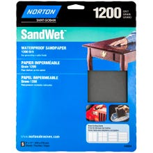 "Norton ProSand , 5 Pack Waterproof Sandpaper Sheets, 9""x11"", 1200 Grit"
