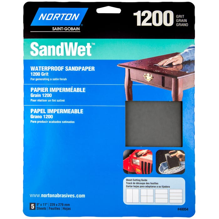 Norton ProSand , 5 Pack Waterproof Sandpaper Sheets, 9