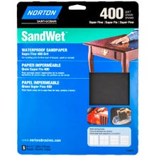 "Norton SandWet, 5 Pack Waterproof Sandpaper Sheets, 9""x11"", 400 Grit, Super Fine"