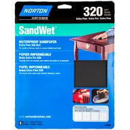"Norton SandWet, 5 Pack Waterproof Sandpaper Sheets, 9""x11"", 320 Grit, Extra Fine"