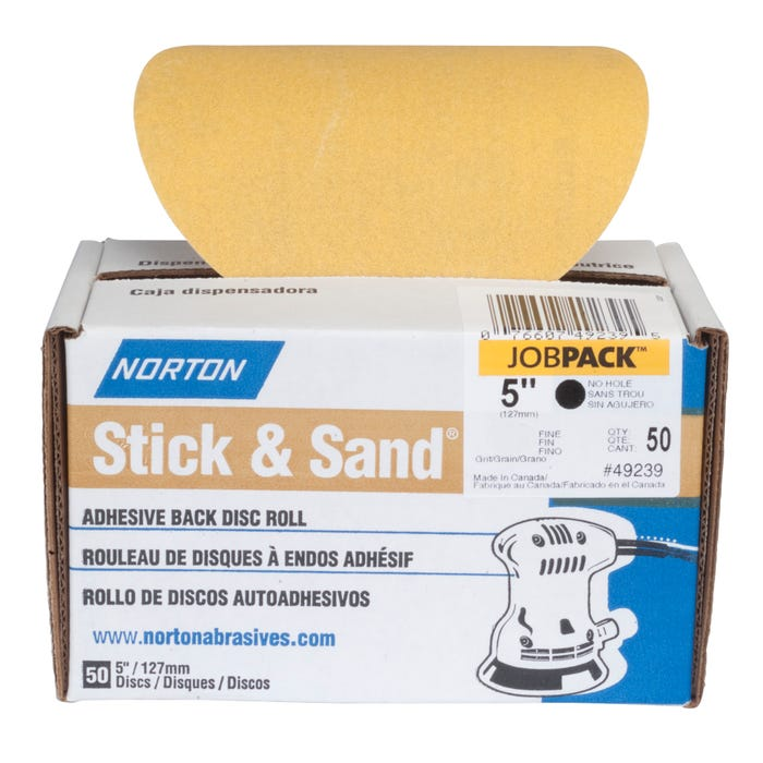 Norton Stick & Stand Disc Roll, 50 Pack Sanding Discs, 5
