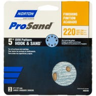 "Norton ProSand, UVH Pattern Hook & Sand 5"" Discs, 3 Pack, 220 Grit, Very Fine"
