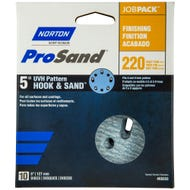 "Norton ProSand, UVH Pattern Hook & Sand 5"" Discs, 10 Pack, 220 Grit, Very Fine"