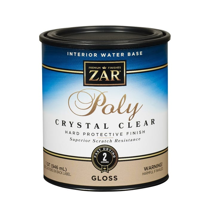 Zar Interior Water Base Poly Crystal Clear, Gloss, Quart