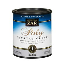 Zar Interior Water Base Poly Crystal Clear, Satin, Quart