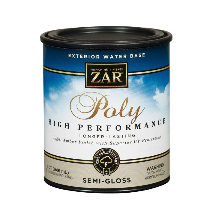 ZAR Exterior Water Base Poly High Performance, Clear, Semi-Gloss, 1 Quart