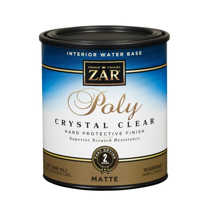 ZAR Interior Water Base Poly Crystal Clear, Matte, 1 Quart