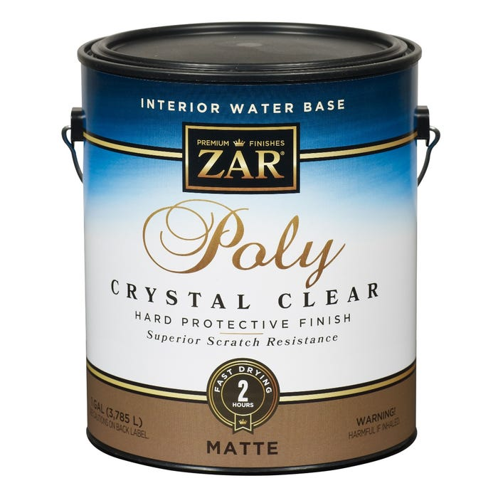 Zar Interior Water Base Poly Crystal Clear, Matte, Gallon