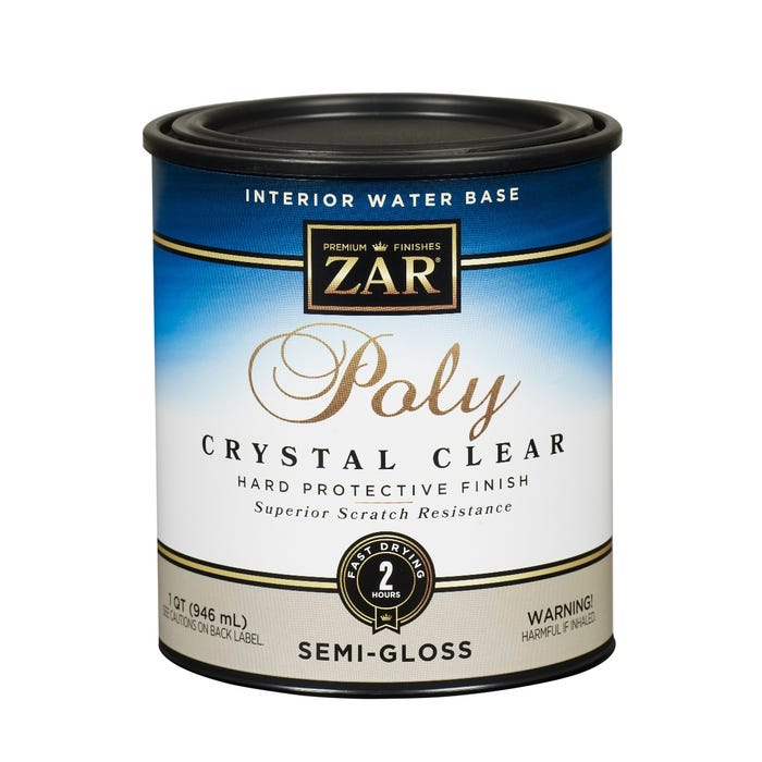 Zar Interior Water Base Poly Crystal Clear, Semi-Gloss, Quart