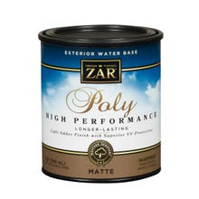Zar Exterior Water Base Poly High Performance, Clear, Matte, Quart