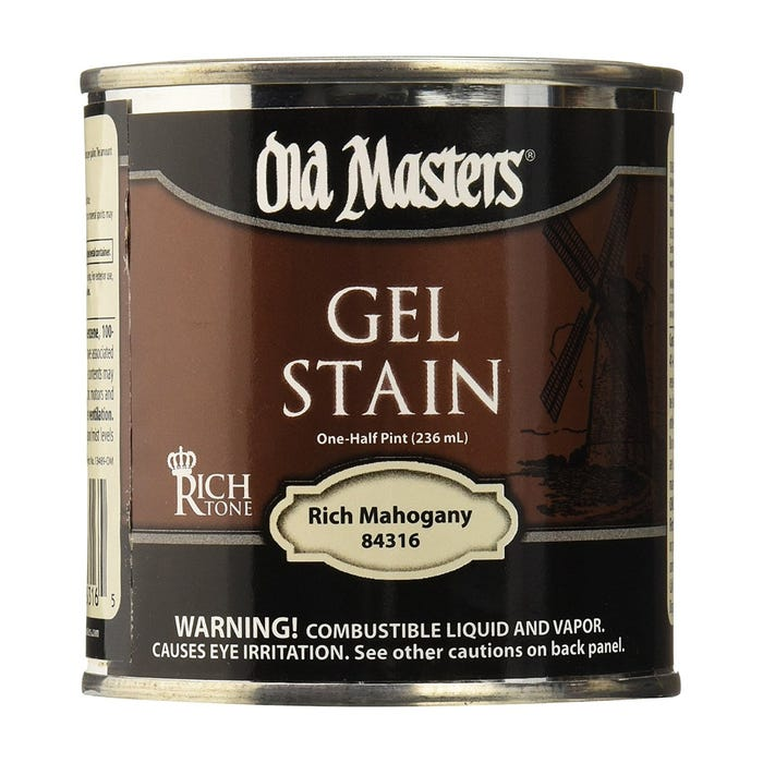 OLD MASTERS GEL STAIN,Rich Mahogany, HALF PINT, 84316