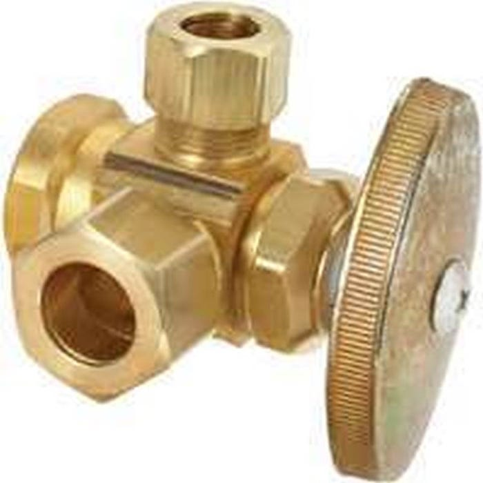 Image 2 of BrassCraft R3701RX RD Stop Valve, 1/2 x 1/2 x 3/8 in FIP x Compression x Compression, Brass, Chrome
