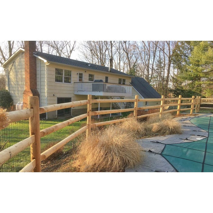 Cedar Full Round 10' Section 3 Hole Split Rail Fencing Package