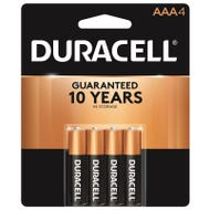 Image 1 of DURACELL MN2400B4Z AAA Alkaline Battery, AAA Battery, Manganese Dioxide, 1.5 V Battery