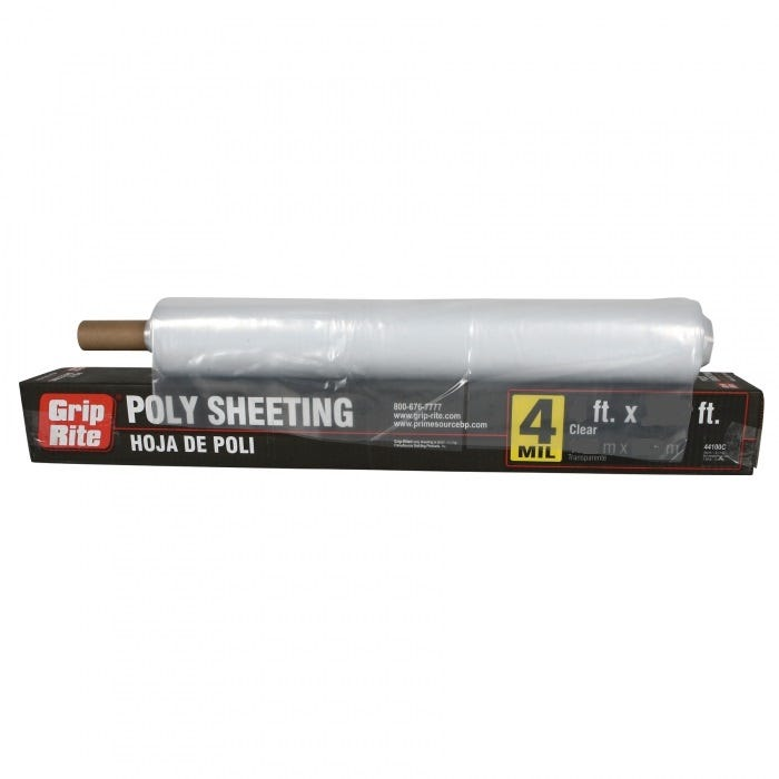 Grip Rite 4-Mil Poly Sheeting, Clear
