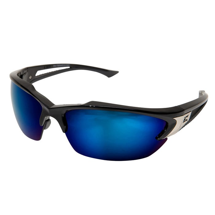 Edge Eyewear Black Frame Blue Mirror Polarized Lens