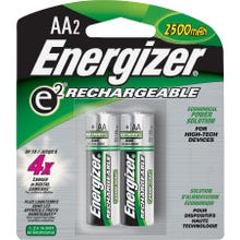 Image 2 of Energizer NH15BP-2 Rechargeable Battery, AA Battery, Nickel-Metal Hydride, 1.2 V Battery