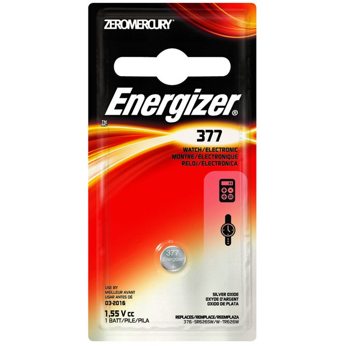 Image 2 of Energizer 377BPZ Coin Cell Battery, 377 Battery, Silver Oxide, 1.5 V Battery