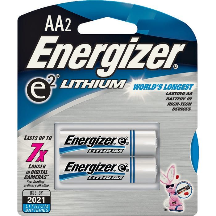 Image 2 of Energizer L91 Series L91BP-2 Non-Rechargeable Lithium Battery, Lithium, Manganese Dioxide, AA Battery, 3000 mAh