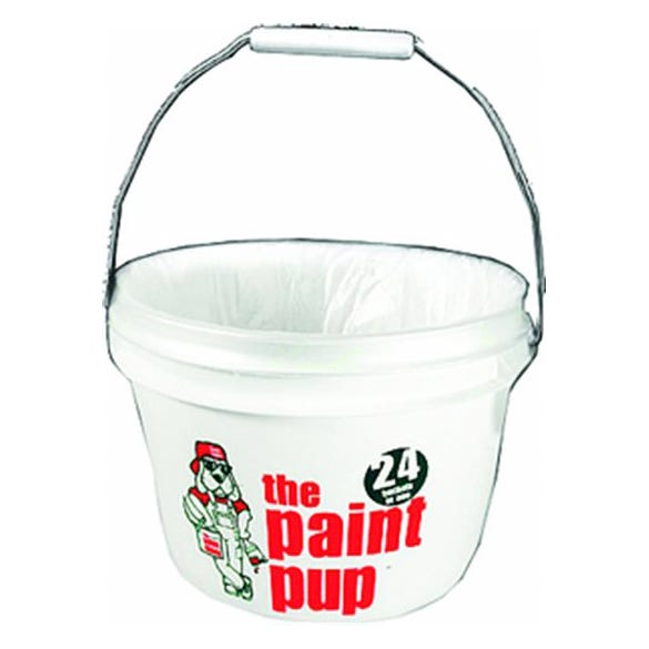 5QT WHITE/RED PAINT BUCKET W/24 LINERS