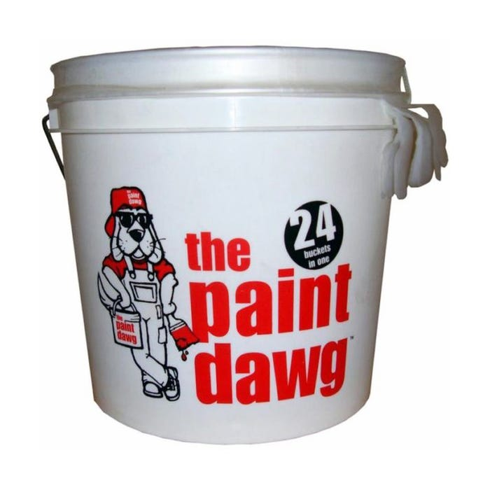 2 GAL WHITE/RED PAINT BUCKET W/24 LINERS