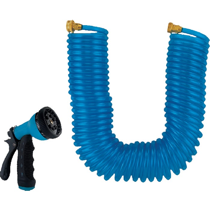 Image 2 of Landscapers Select Coil Hose With Nozzle Set, Blue, 3/4 In Od X 50 Ft L