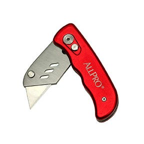 Folding lock-back utility knife with locking blade