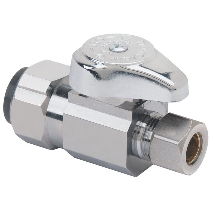 Image 1 of BrassCraft G2PS14X CD Stop Valve, 1/2 x 3/8 in Push-Connect x Compression, Brass, Chrome