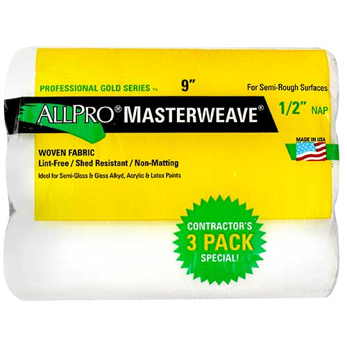 AllPro Masterweave 9 in. Roller Cover with ½ in. Nap, 3 Pack