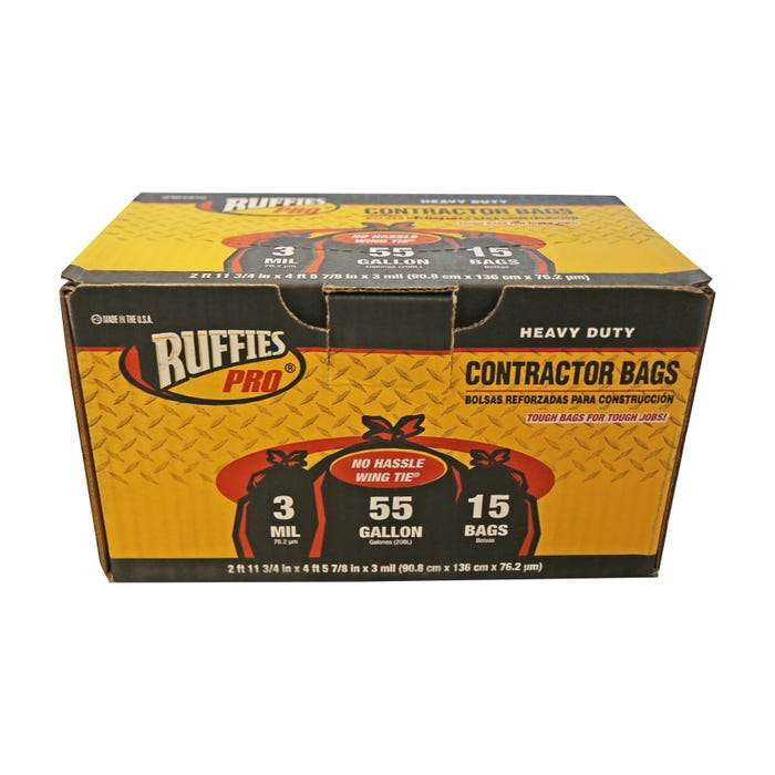 RUFFIES PRO 55GAL CONTRACTOR BAG 3MIL 15/CT