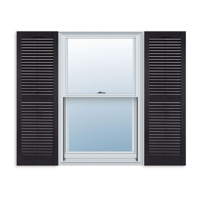 Cellwood Black Vinyl Louvered Shutters with midrail (1 Pair)