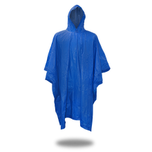 VINYL PONCHO WITH HOOD .10MM BLUE