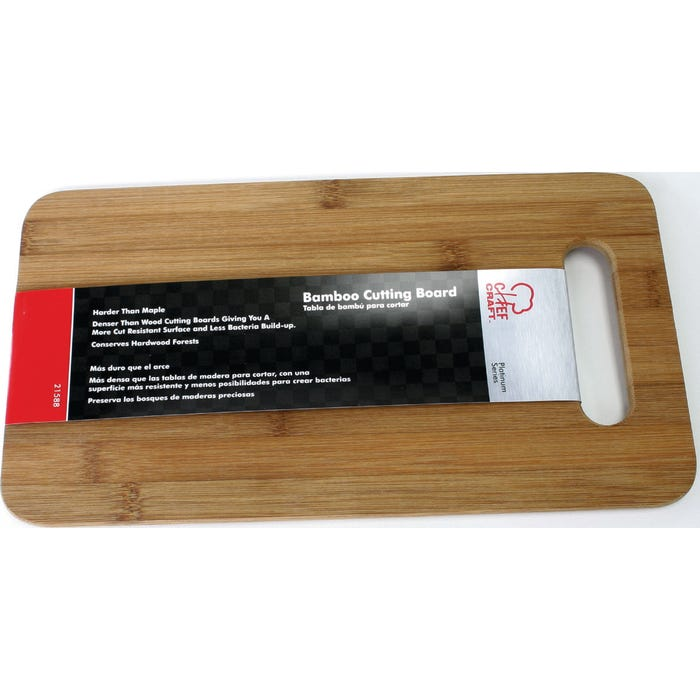 Image 2 of CHEF CRAFT Cutting Board, 14 in L, 7-1/2 in W, Bamboo, Brown