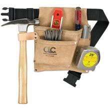 CLC IPK489X Nail/Tool Bag, 3-Pocket, 29 to 46 in Strap/Belt, Suede Leather, Tan