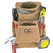 Image 2 of CLC Tool Works I923X Nail and Tool Bag, 10-Pocket, Suede Leather, Tan