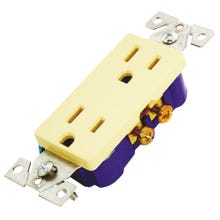 Image 2 of Eaton Wiring Devices 1107V-BOX Duplex Receptacle, 15 A, 2-Pole, 5-15R, Ivory
