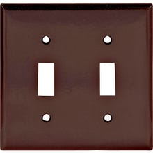Image 2 of Eaton Wiring Devices 2139B-BOX Standard-Size Wallplate, 2-Gang, Thermoset, Brown