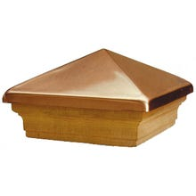 Woodway Post Cap, Copper / Cedar - High Point Style, Fits 4 x 4 Wood Post