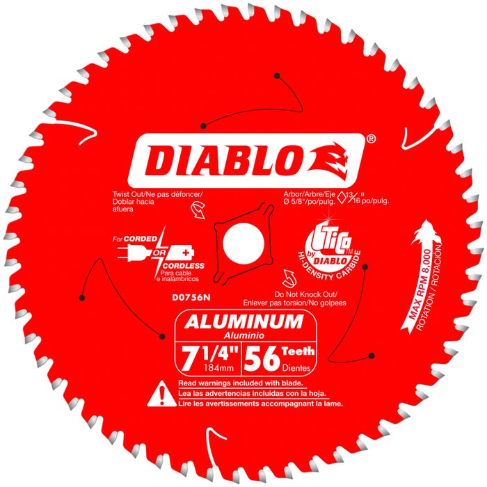Diablo 7-1/4 in. x 56 Tooth Thick Aluminum Cutting Saw Blade