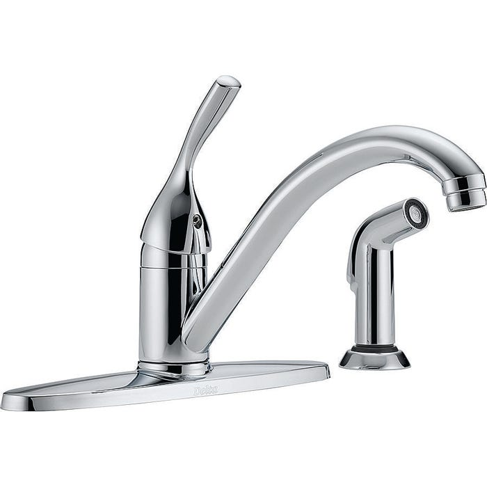 Image 2 of DELTA 400-DST Kitchen Faucet with Side Spray, 1-Faucet Handle, 4-3/4 in H Spout, Brass, Chrome