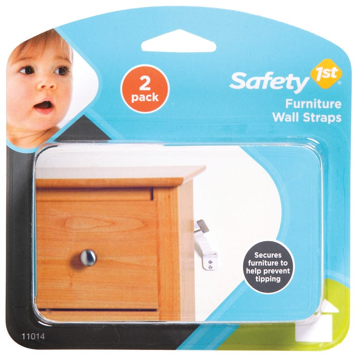 Image 2 of Safety 1st 11014 Furniture Wall Strap, Canvas, White