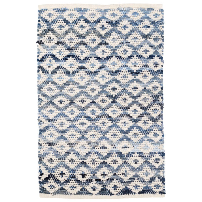 Dash & Albert Denim Rag Diamond  Woven Cotton Rug